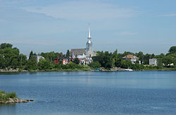 Chambly's Church St-Joseph, viewed from the Basin.