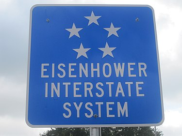 Eisenhower Interstate System sign south of San Antonio, Texas Eisenhower Interstate System IMG 4192.JPG