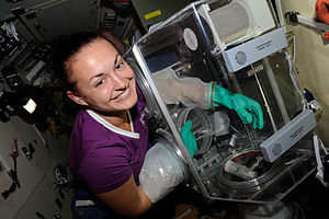 Poisk (ISS module) - Yelena Serova works on an experiment in Poisk