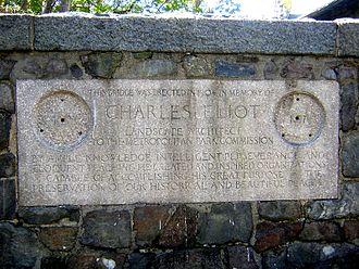 Metal theft - A plaque on Eliot Memorial Bridge, Great Blue Hill, Milton, Massachusetts, an apparent target of metal theft.