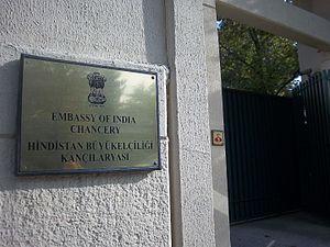 India–Turkey relations - Entrance plate at Embassy of India in Ankara