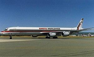 Emery Worldwide - Emery Worldwide Douglas DC-8 at Perth Airport (early 1990s).