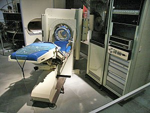 Data General Nova - A Nova 1200, mid-right, processed the images generated by the EMI-Scanner, the world's first commercially-available CT scanner.