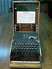 The Enigma machine was widely used by Nazi Germany; its cryptanalysis by the Allies provided vital Ultra intelligence.