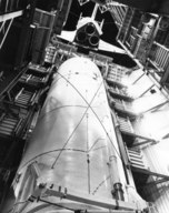 Enterprise lowered into Test Stand