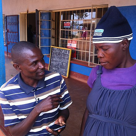 Enumerator conducting a survey using a mobile phone-based questionnaire in rural Zimbabwe.