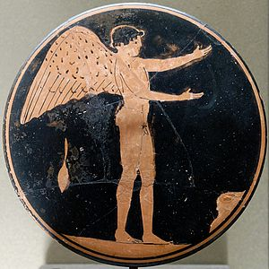 Ancient Greek eros - Eros. Attic red-figure bobbin, c. 470 BC–450 BC.