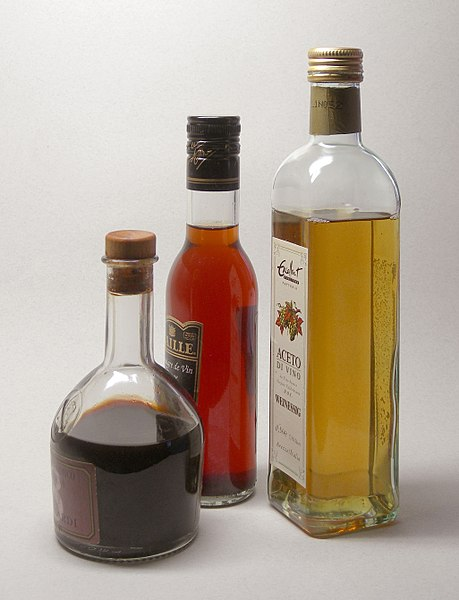 Balsamic, red and white vinegars