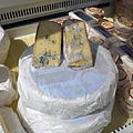 A display of blue cheese.