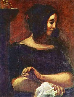 George Sand as portrayed by Eugène Delacroix in 1838. This portrait was originally part of a larger painting showing both George Sand and Frédéric Chopin.