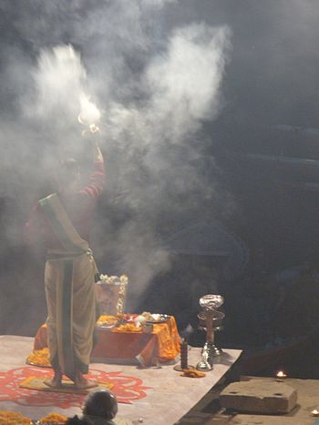English: Evening aarti with incense at Ganga g...