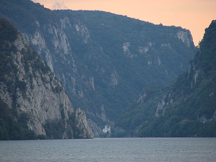 Iron Gates, Serbia-Romania border Evening at Danube gorge.jpg