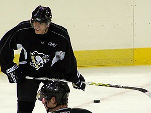 Evgeni Malkin - Malkin smiling during a practice with the Penguins in 2006.