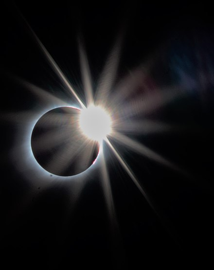 Diamond Ring effect at third contact, marking the end of totality. Some prominences can also be seen. Exit Diamond Ring Effect.jpg