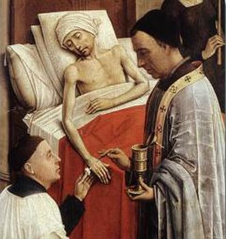 Anointing of the Sick -  Detail of The Seven Sacraments (1445) by Rogier van der Weyden showing the sacrament of Extreme Unction or Anointing of the Sick.