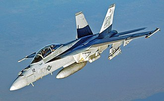 Boeing F/A-18E/F Super Hornet - A U.S. Navy F/A-18F Super Hornet on a mission over the Persian Gulf in September 2005