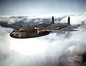 Fairchild C-119B of the 314th Troop Carrier Group in flight, 1952 (021001-O-9999G-016).jpg