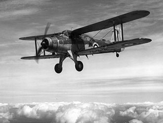 Fairey Albacore - L7075, the second prototype of the Fairey Albacore in flight. The markings place it around 1940.