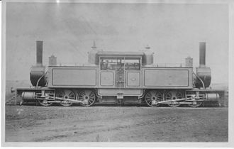 CGR Fairlie 0-6-0+0-6-0 - Not a CGR Double Fairlie, but showing the type's central firebox and cramped cab workspace