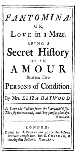 Fantomina - Title page for the first publication of Fantomina in 1725