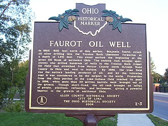 Lima, Ohio - Ohio historical marker outlining Lima's oil history with Faurot