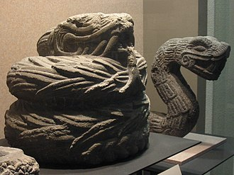 Feathered Serpent - Aztec era stone sculptures of feathered serpents on display at the National Museum of Anthropology in Mexico City.