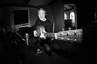 John Feldmann - Feldmann with his Martin acoustic at Foxy Studios