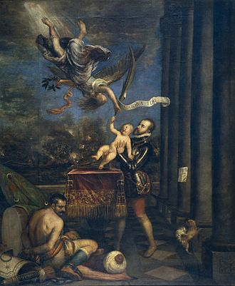 Titian; after the Battle of Lepanto in 1571, Philip offers his short-lived heir Fernando to Glory in this allegory Felipe IV offers Ferdinand to Glory.jpg