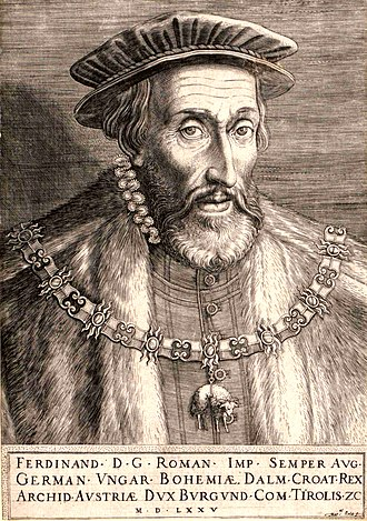 Martino Rota - Ferdinand I, Holy Roman Emperor, by Rota, dated 1575; Ferdinand was Master of the Order of the Golden Fleece, which he wears here