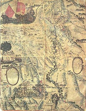 Bernardo de Miera y Pacheco - Map of New Mexico, 1760, drawn by Miera y Pacheco to Marín del Valle