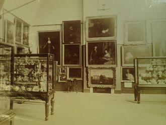 Lincoln College of Art - Fine Art Exhibition held at the Lincoln School of Art on Monks Road in 1887, most likely in the Painting Room on the first floor.