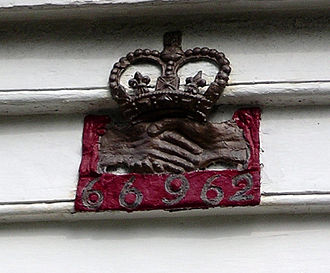 Fire insurance mark - Fire mark of the Hand in Hand Fire & Life Insurance Society on a house in Dulwich