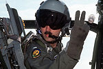 First Lt. Clyde Beattie, pilot of a 21st Tactical Air Support Squadron OV-10 Bronco aircraft, signals his crew chief for a No DF-ST-90-09291.jpg