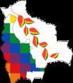 Flag-map of Bolivia, Wiphala & bandera de la flor de Patujú-en el mapa de Bolivia..png