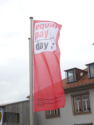Equal Pay Day - Equal Pay Day flag flying on March 21, 2014 in Alsbach, Germany