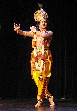 Natya Shastra - Image: Flickr dalbera Danseuse de Kuchipudi jouant Krishna (musée Guimet)