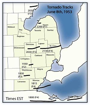 Flint–Worcester tornado outbreak sequence - tornado track map, showing the times and paths of the June 8, 1953 tornadoes in the Flint, Michigan area, and around Lake Erie, in northern Ohio.