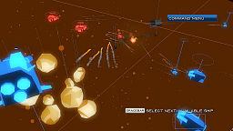 Several ships exchanging missiles across a three-dimensional area littered with asteroids. The ships, asteroids, and missiles are all rough-looking, with hard edges and few details.