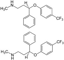 Fluoxetin Structural Formulae of both enantiomers.png