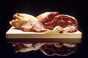 Public domain photograph of various meats. (Be...
