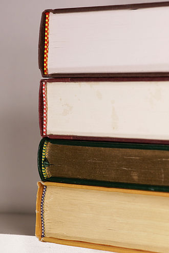 Endband - The headbands of four books showing some variation in the decorative style and colors