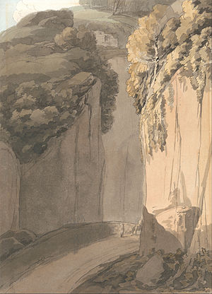 Francis Towne - Entrance to the Grotto at Posilippo, Naples, 1781, little reworked