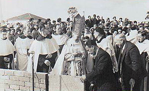 Greystanes, New South Wales - Frank Cefai laying the first stone at OLQP Church.