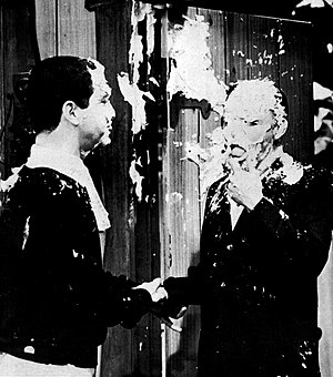 Soupy Sales - As Sales' guest, Frank Sinatra was no more immune to a pie in the face than his host.