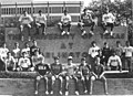 Fraternity men wearing t-shirts with Greek letters sitting in front of University of Texas at Arlington sign (10005982).jpg