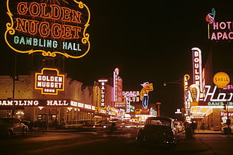 Las Vegas - Golden Nugget and Pioneer Club along Fremont Street in 1952