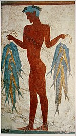 Fresco of a fisherman, Akrotiri, Greece.jpg