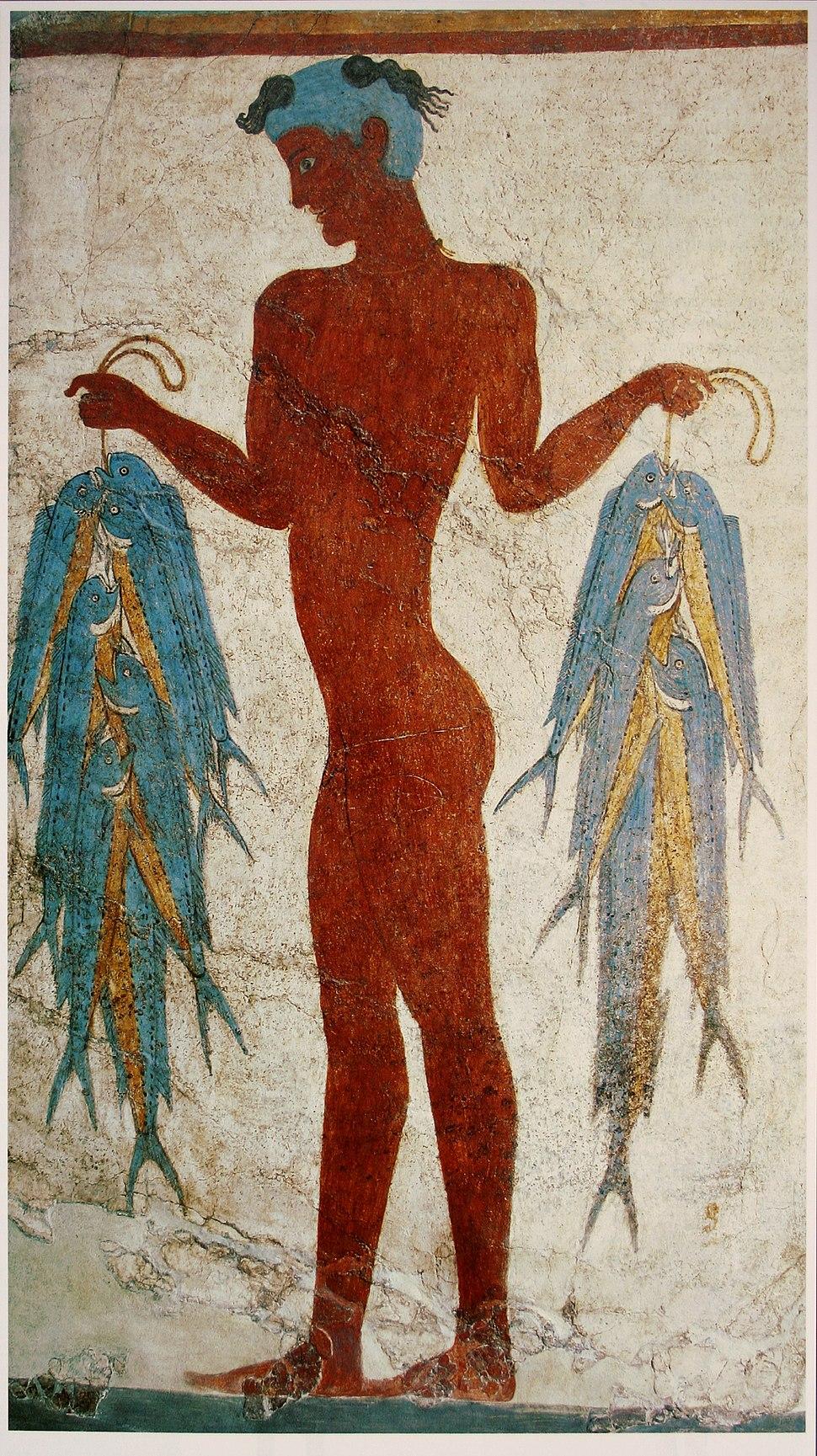 Fresco of a fisherman, Akrotiri, Greece