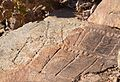 "Fuerteventura, mount Tindaya, ancient ""graffiti"" in crude shape of footprints, ""podomorphs"" close to the top of the sacred mountain Tindaya.jpg"