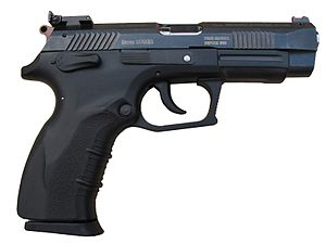 Personal weapon - Semi-automatic pistol Grand Power K100 Target produced in Slovakia - an example of a personal firearm.